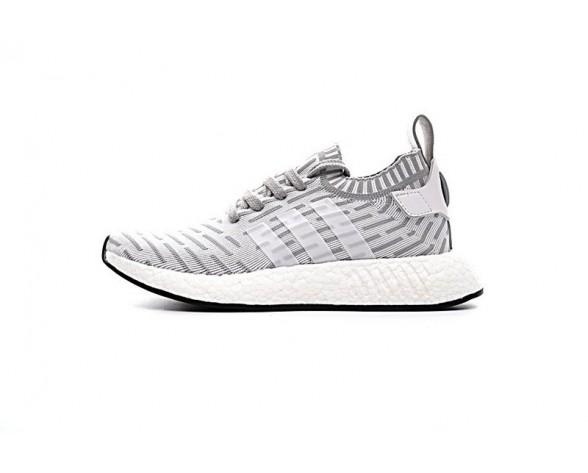 Unisex Grau & Weiß & Rosa Adidas Originals Nmd R2 Primeknit Ba7238 Schuhe