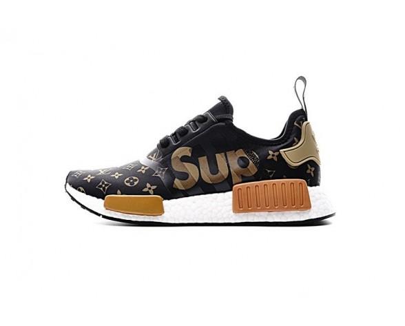 Supreme X L.V X Adidas Nmd R1 By3087 Unisex Schuhe Schwarz & Gold