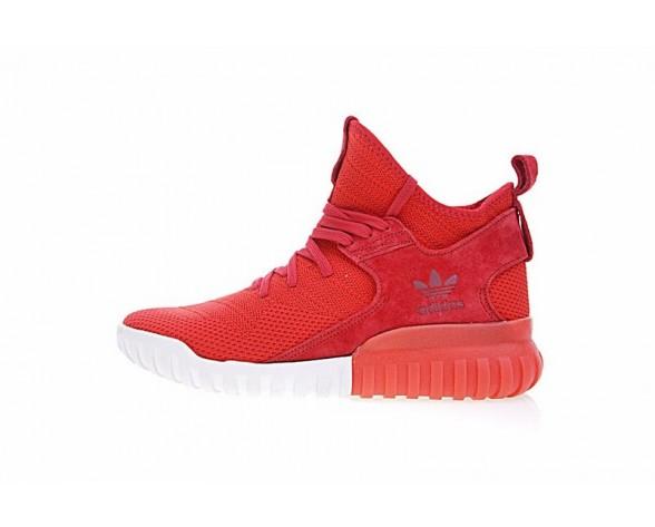 Herren Adidas Originals Tubular X Primeknit S80129 Rot & Weiß Schuhe