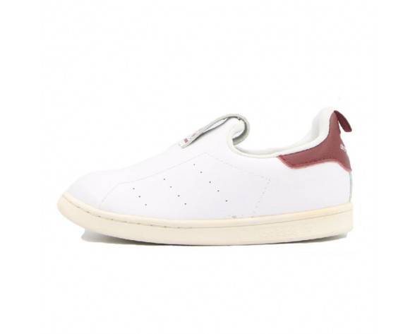 Weiß Wine Rot Unisex Adidas Stan Smith Slip On Kid S75222 Schuhe