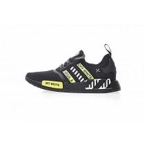 Off-Weiß X Adidas Nmd R_1 Boost Ba7787 Unisex Schuhe Schwarz & Weiß & Lime Grün