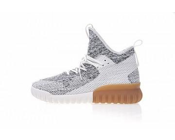 Herren Weiß & Grau & Braun Adidas Originals Tubular X Primeknit By3146 Schuhe