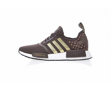 Herren L.V X Adidas Nmd R_1 Boost Ba7789 Dunkel Braun & Gold Schuhe