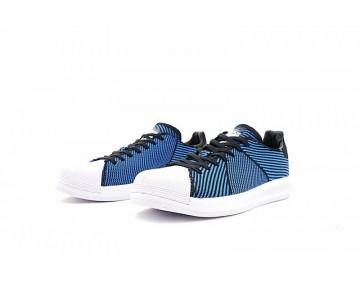 Unisex Tief Blau & Schwarz & Weiß Schuhe Adidas Superstar Bounce Primeknit S82242