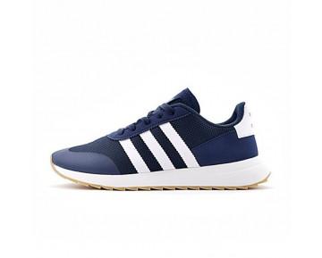 Tief Blau & Weiß Herren Adidas Originals Flashback Breathable Sneakers S78622 Schuhe