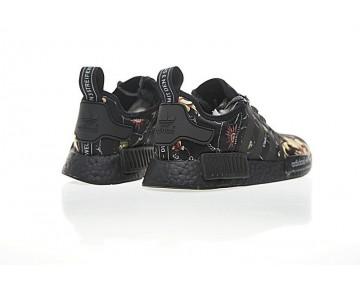 Versace X Adidas Nmd Custom R_1 Ba7266 Schwarz Flower Schuhe Herren
